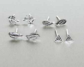Sterling Silver Ear Studs Set, Silver Earrings Set, Minimalist Silver Ear Studs, Gift Earring Set, Bohemian Ear Studs, (E176/182/183/184)