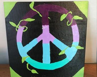 Tie Dye Peace Sign 8 x 8 Acrylic Painting with Leaves
