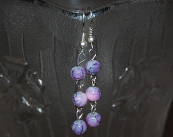 Purple earrings, with three 4mm beads