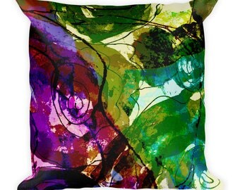 Abstract Floral Square Pillow