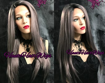 Steel Gray Ombre Human Hair Blend Lace Front Wig - Sierra