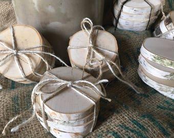 165 Individual white birch slices