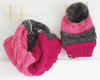 MILDRED pale pink, Fuchsia and dark gray marbled / Hat / scarf / knit