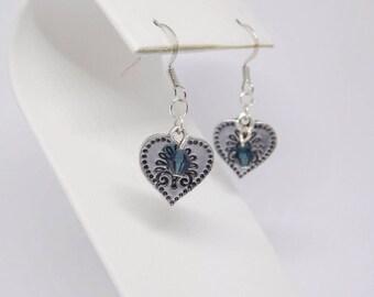 Silver Heart Charm Earrings. Swarovski Sapphire Crystals.