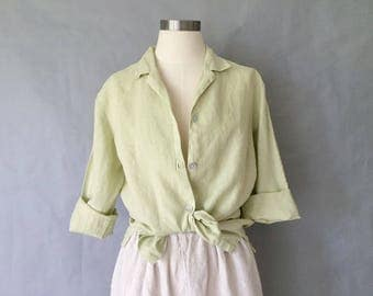 Vintage 100% linen button down blouse/shirt/top Bryn Walker made in USA women's size S/M/L