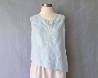 Reserved for Shiron Vintage 100% linen asymmetrical sleeveless top/blouse/shirt women's size S/M