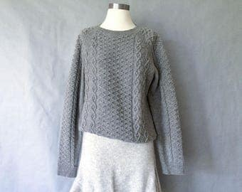 vintage wool fisherman cable sweater/pullover in gray color women's size S/M