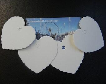 100 étiquettes coeurs cartonnées blanches qui mesurent 6 x 5.5 CM