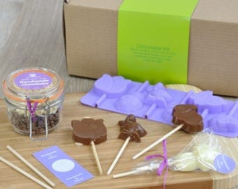 Cute Easter Friends Chocolate Lollipops Kit, Belgian Chocolate, Easter charcters, Family activity, Easter holidays, Family Make Easter Chocs