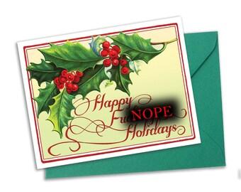 Happy Bleeping Holidays- Swear Word Christmas Card- Curse word Christmas Card- Blank A2 Note Card Single Card