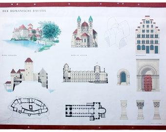 Romanesque, educational chart, 1954