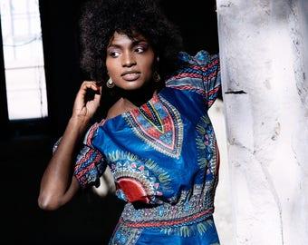 Bardot Top Dashiki Clothing African Blouse African Print Bardot Top Ankara Top African Bardot Top Wax Print Blouse Festival Outfit African T