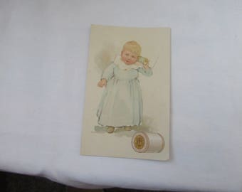 Antique J & P Coats Best Six Cord Thread 1800's  Victorian Trade Card Cute Little Girl In A Blue e Dress with White Collar