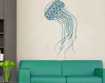Jellyfish Wall Decals animals Wall Decals Wall Decals Zentangle Style Wall Decals for nursery Kids Wall Decals for bedroom kik3186