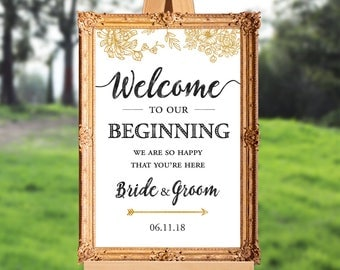 Wedding welcome sign - welcome to our beginning - we are so happy that you're here - PRINTABLE - 16x20 - 18x24 - 20x30 - 24x36