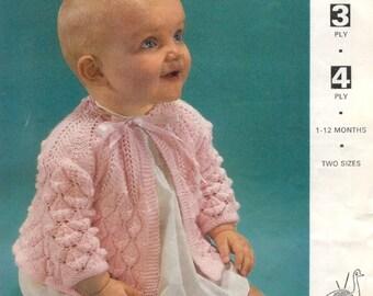 Vintage 'EMU 8411' baby knit matinee coat pattern in pdf