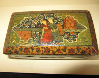 Antique Persian Qajar Wooden Pictorial Painted Box