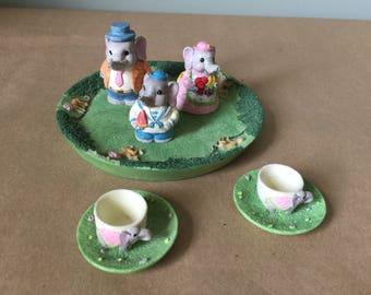 Miniature Babar the Elephant Tea Set Polymer Clay