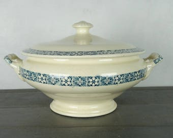 "French vintage soup tureen, ironstone, ""Longchamp"", ca 1930"