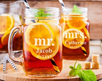 Mr. and Mrs. Personalized Engraved Mason Jars - Wedding Toasting Mugs - DG24-A12