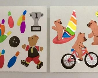 Vintage Sandylion Mylar Bear Stickers. Bowling, Tennis, Bicycles, Wind Surfing