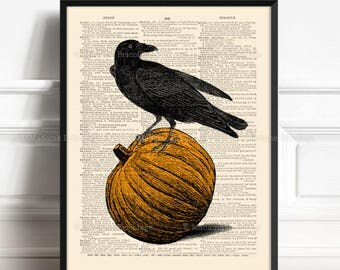 Raven Halloween Art, Husband Gift Poster, Pumpkin Head Print, Funny Office Print, Gift for Her to 40, Horror Party Decor, Wall Art Print 460