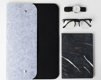 "Black And Grey Felt MacBook Sleeve - MacBook Pro 13"", MacBook 13 Inch, Black Laptop Sleeve, Grey Felt Laptop Sleeve, MacBook Sleeve, Minimal"