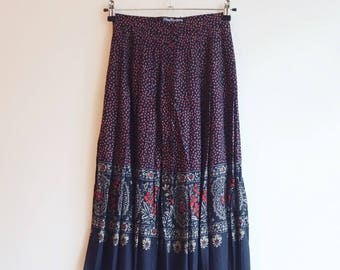 Vintage pleated hippie boho printed paisley skirt S XS