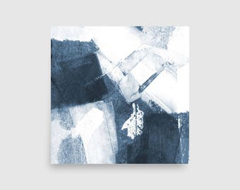 Blue & White Abstract Wall Art, Framed Print, Scandinavian Art, Abstract Minimalist, Square Print, Abstract Painting, Minimalist Painting