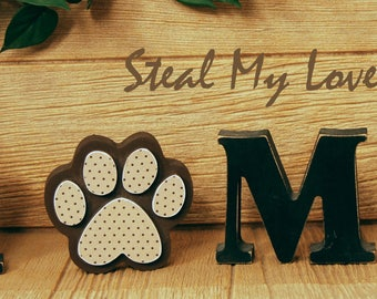 "Puppy Paw: Summer Stand alone Decoration and ""O"" Insert ONLY - Craft for ""H M E"", ""L V E"" or ""WELCME"" Interchangeable Letter Set"
