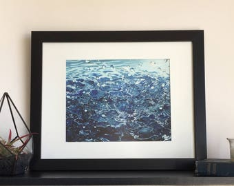 Water art print, Beach house décor, Prints wall art, Ocean wall art, Bathroom wall décor, Blue wall art, Blue and white décor, Giclee print