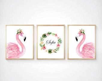 Flomingo nursery, Flomingo painting, watercolor flomingo, floral flamingo, flomingo print set, pink nursery, coral nursery, baby girl