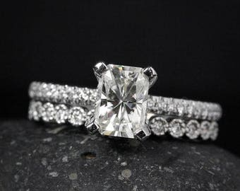 FLASH SALE Wedding Set - Radiant Cut Engagement Ring - Forever Brilliant Moissanite - Round Diamond Milgrain Band