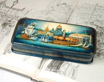 Russian Lacquer Miniature Art Box City Monumental St Petersburg Gold & Sky-blue Decorative Art - hand paint Russia folk art