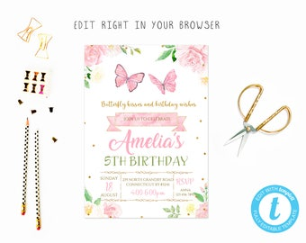 Butterfly party tem, TRY BEFORE you BUY, instant download, edit yourself invitation,Template Editable