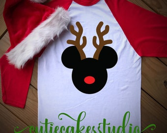 disney reindeer shirt - disney Christmas shirt - mickey's Christmas party - disney rose gold shirt - disney vacation reindeer raglan shirt