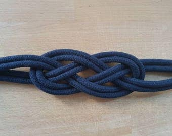 Navy blue Cotton Rope Carrick Bend Knot Curtain Tie-backs Large Knot Nautical Style Shabby Chic Rope Curtain Gray Tiebacks Hold-backs Slate