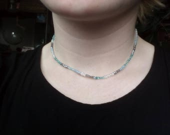 Turquoise Blue and Grey Short Beaded Choker Necklace