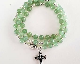 Translucent Green Jade Stretch Rosary Bracelet