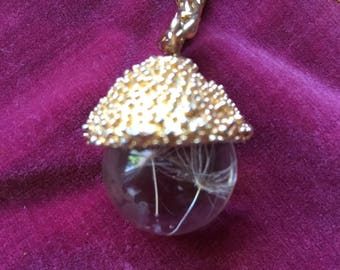 Faboulous Necklace Lovely Real Flower Inside Cyrstal Ball with Long Chain