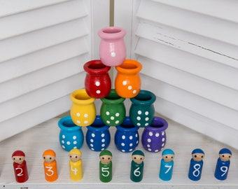 Educational Toys, Waldorf toys, Montessori toys, Natural Toys, Waldorf doll, Peg Dolls, Wooden Peg Dolls, Matching Game, Montessori Toddler