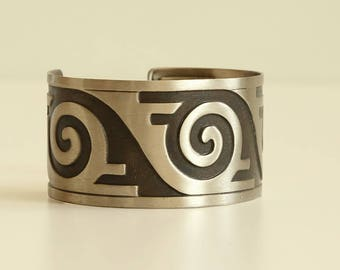 Vintage Bell Nickel Silver Company Cuff Bracelet
