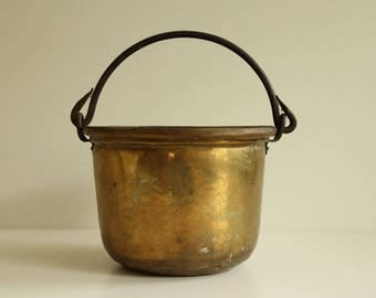 French Antique Copper Bucket with Iron Handle, circa 1890