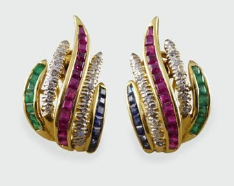 Contemporary Sapphire, Emerald, Ruby and Diamond Earrings set in 18ct Gold
