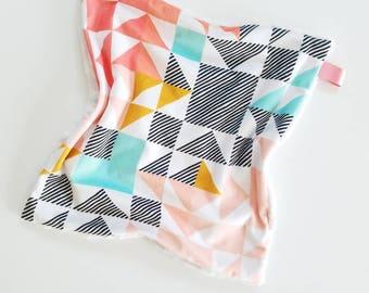 Geometric Lovey, Baby Girl Lovey, Minky Lovey, Baby Blanket, Minky Blanket, Aztec  Minky Lovey, Baby Lovey, Security Blanket, multicolored