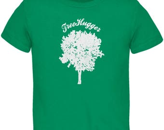 Earth Day - Treehugger Distressed Kelly Green Toddler T-Shirt