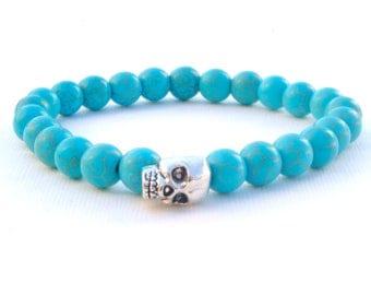 Mens Bracelet, Turquoise Skull Bracelet, Mens Silver Skull Bracelet,  Black Gem Stone Bracelet, Mens Gift, Unique gift for him