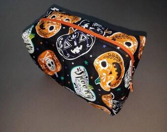 Halloween/pumpkin/jack-o-lantern/sugar skulls toiletry/cosmetic bag