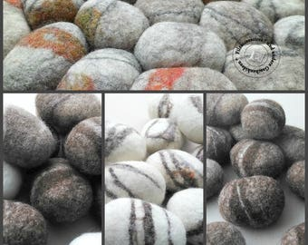 Felt wool stones, 15 pieces of pebbles felted from sheep wool, Scandinavian style decor, living room decor, decorative stones, eco-friendly