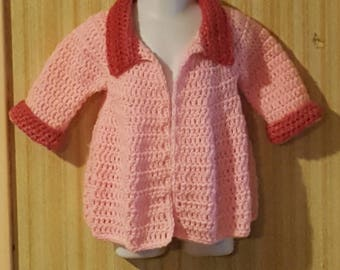 Crochet girls sweater with trim